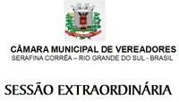 3ª Sessão Extraordinária será realizada sexta-feira